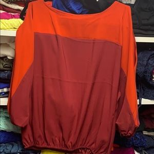 New York & co cold shoulder color block xs blouse